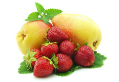 A pear with a strawberry Stock Photo