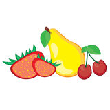Pear, strawberry, and cherry Royalty Free Stock Photo