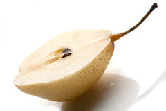 Pear studio shot. Juicy pear on white background royalty free stock photography