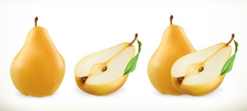 Pear. Sweet fruit. 3d vector icons set Stock Photos
