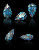 Pear. Swiss blue topaz. Pear. Collections of jewelry gems on black. Swiss blue topaz Stock Photography