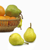 Pear and tangerine Stock Photos