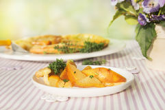 Pear tart with thyme on summer table with flowers Royalty Free Stock Photos