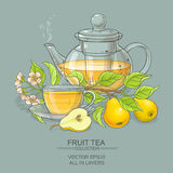 Pear tea vector illustration. Pear tea in teapot on color background Stock Image