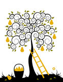 Pear tree and basket of pears Royalty Free Stock Images