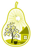 Pear tree and cottage in pear Royalty Free Stock Photography