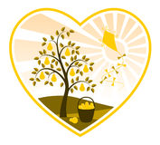 Pear tree and kite in heart Stock Images
