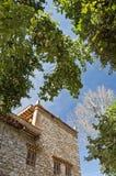 Pear trees around the folk house. A tibetan folk house with a very tall pear tree nearby Stock Photos