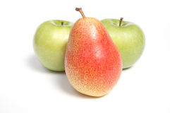 Pear and two apples Stock Photography