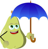 Pear with umbrella Royalty Free Stock Photography