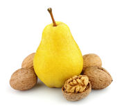 Pear and walnut Royalty Free Stock Images