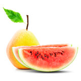 Pear and watermelon composition Royalty Free Stock Photo