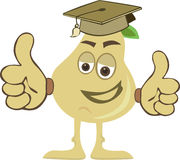 Pear wearing graduation cap with thumb up Royalty Free Stock Photos