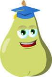 Pear wearing graduation cap Stock Photography
