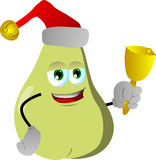 Pear wearing Santa's hat and playing bell Stock Images