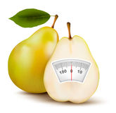 Pear with weight scale. Diet concept. Royalty Free Stock Photo