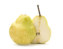 Pear. On white background, cross section stock photography