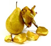 Pear with wilting rose Royalty Free Stock Image