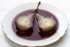 Pear in wine Stock Photo