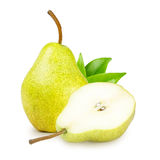 Pear With Green Leaves Royalty Free Stock Image
