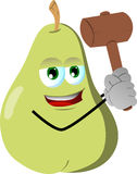 Pear with a wooden hammer Royalty Free Stock Photos