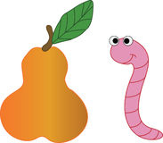 Pear and worm. Stock Photography