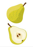 Pear yellow. Fresh yellow pear, whole fruit and fruit cut in half, illustrated and  on white background Stock Photos
