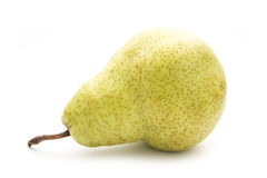 Pear. Yellow organic pear on white background royalty free stock photo