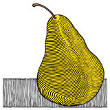 Pear yellow woodcut Royalty Free Stock Photos