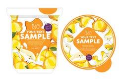 Pear Yogurt Packaging Design Template. Stock Image