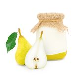 Pear yogurt Royalty Free Stock Images