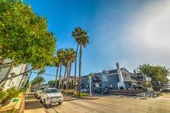Pearl бульвар в пляж острове бальбоа, Ньюпорте Стоковые Фотографии RF