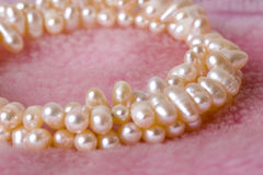 Pearl. Bracelet over pink fur Stock Photography