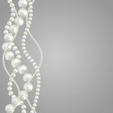Pearl. Abstract vector background with beautiful 3D shiny natural white pearl garlands of beads. Set for celebratory design, Christmas decorations. wedding theme Royalty Free Stock Image