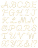 Pearl alphabet. Set of pearl alphabets.  Vector illustration Stock Image