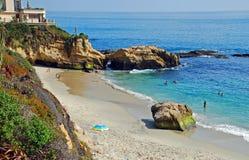 Pearl (Arch) Street Beach, Laguna Beach,California. Pearl Street Beach (Arch Cove) is a picturesque beach found at the base of Pearl Street in South Laguna Beach stock photo