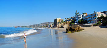 Pearl (Arch) Street Beach, Laguna Beach,California. Image show a panorama of Pearl (Arch) Street Beach in South Laguna Beach,California. Behind the Stock Image