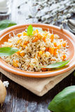 Pearl barley boiled with vegetables Stock Photo
