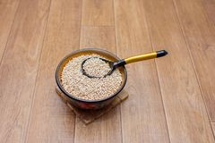 Pearl barley in a dereyanny plate with a wooden spoon. Pearl barley in a dereyanny plate with the wooden spoon painted under Khokhloma Stock Photography