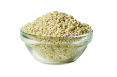 Pearl barley in a glass bowl, isolated Royalty Free Stock Image