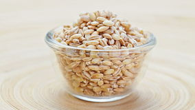 Pearl barley heap in a glass bowl rotating stock footage