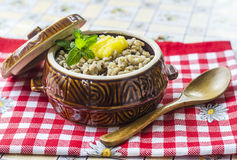 Pearl barley porridge Stock Photos
