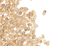 Pearl barley seeds border on white Royalty Free Stock Photo