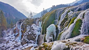 Pearl Beach Waterfall Jiuzhaigou winter ice Stock Photos