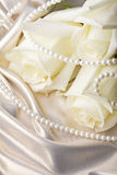 Pearl beads and cream rose Stock Image