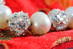 Pearl beads with crystal spheres Royalty Free Stock Photos