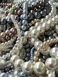 Pearl beads for jewelry making royalty free stock images