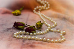 Pearl beads with roses buds Royalty Free Stock Image