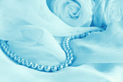 Pearl beads and roses Stock Photo