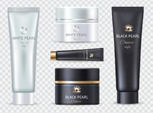 Pearl Black Night and White Day Cream Set of Icons. Pearl black night and white day cream, set of icons of cosmetic products for skin care of face and eyes Royalty Free Stock Photos